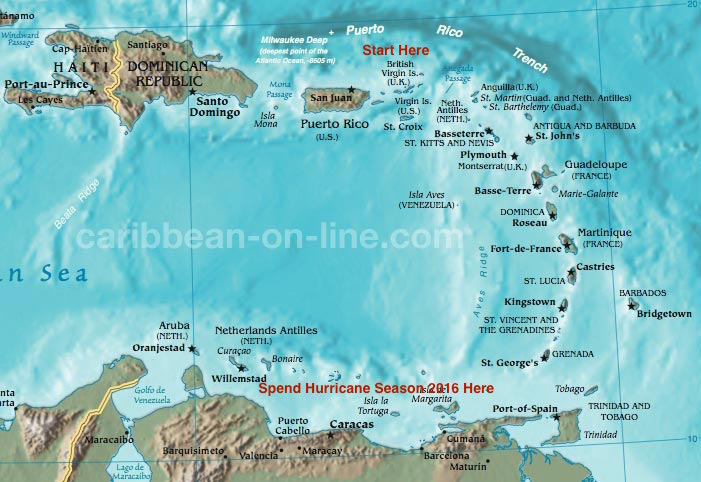 The Eastern Caribbean sv Sail Pending page contents – St John Caribbean Map
